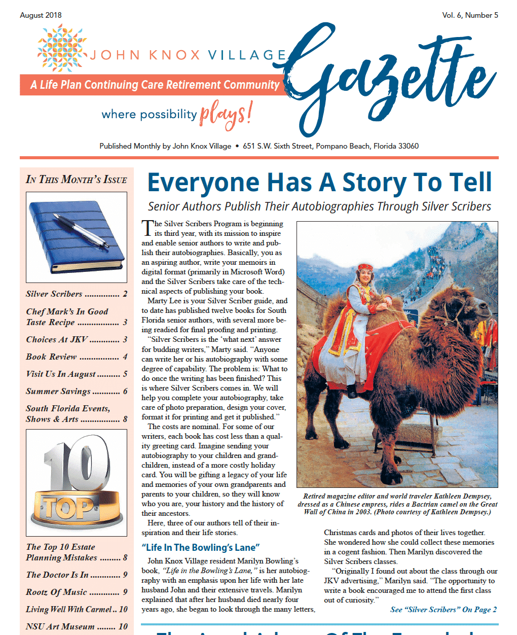 Gazette - August 2018 - Everyone Has A Story To Tell — John