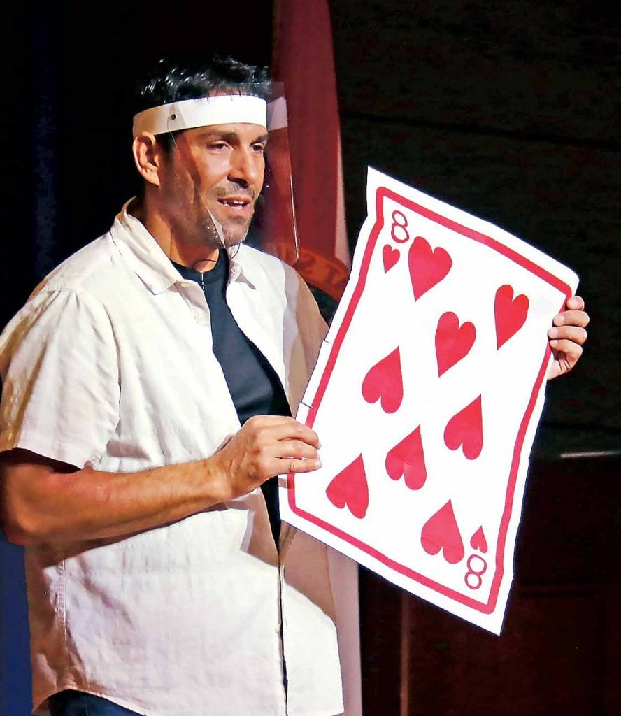 Mitch the Magician entertained in the Village Centre Auditorium with COVID-careful shows during Active Aging Week.